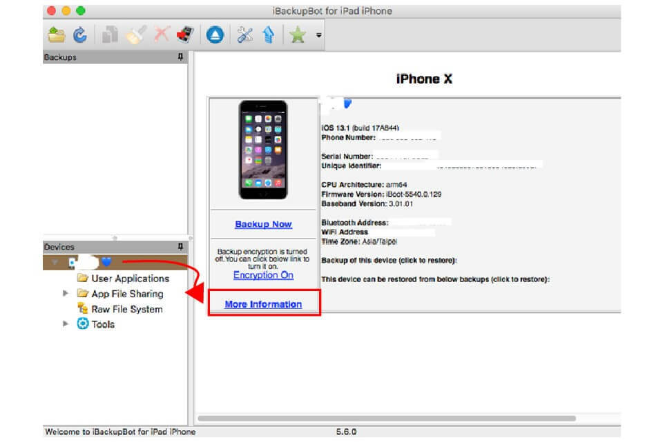 手機連上iTunes後再開啟iBackupBot